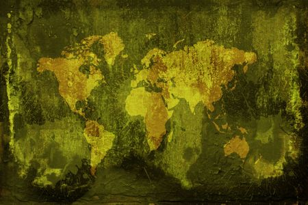Computer generated digital grunge world map background photo