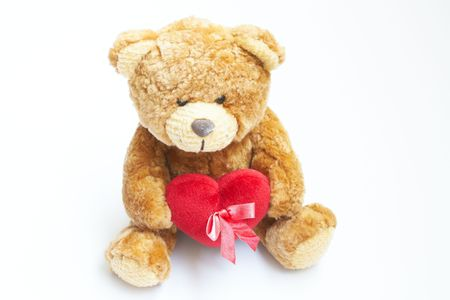 favorite colour: Brown Teddy Bear on White background Stock Photo