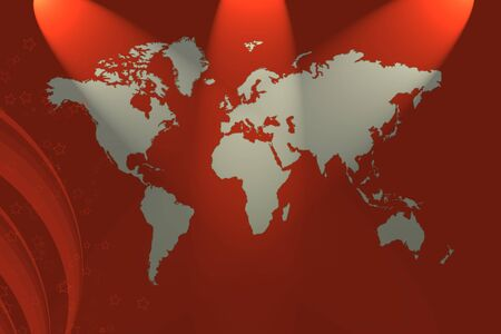 worldmap: Worldmap with Spotlights and red background