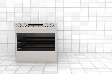 3d rendered oven standing on tile room