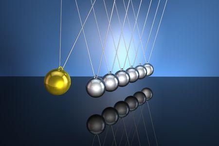 WahadÅ'o Newtona w dziaÅ'ania dublowanie na podÅ'odze czarnego, jasnoniebieskie tÅ'o Zdjęcie Seryjne