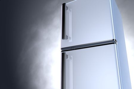 3D fridge with chrome handle and gray background