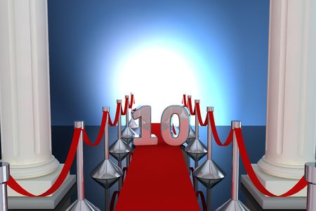 10 years anniversary with red carpet and columns Stock Photo - 6833463