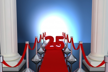 25 year anniversary with red carpet and columns photo