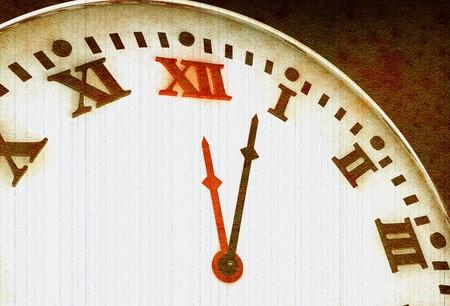romeinse cijfers: Oude klok met Romeinse cijfers in 3D