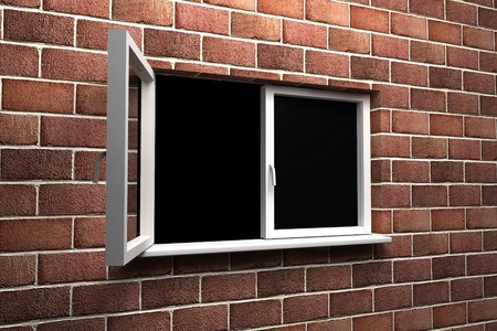 open window: Three dimensional rendered open window on brick wall Stock Photo