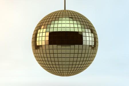 Hanging  golden disco ball in 3d photo