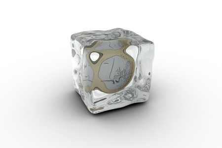 Euro coin on ice - illustration of a ice cube with a euro coin