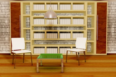 Two white chairs with table and books at the background photo