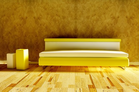 3d rendered modern sofa with vase and sunlight photo