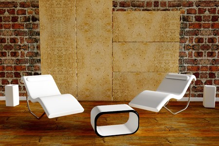 3d rendered armchair with white vase on wooden floor Stock Photo - 7439853