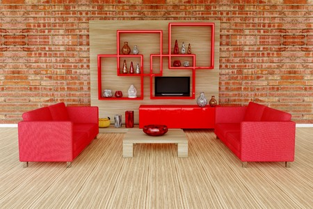 3d interior room with red sofa and many vase Stock Photo - 7469941