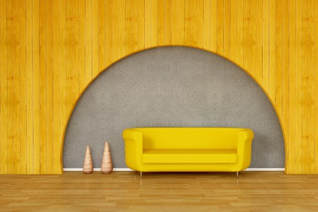 Sofa with vase - stone wall and wooden wall Stock Photo - 7537600