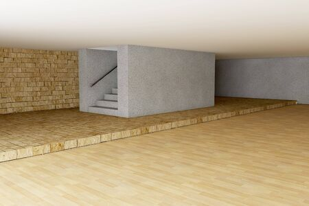3d rendered empty room with stairs photo