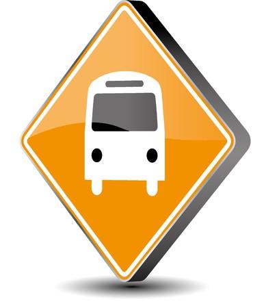 Vector illustration bus sign - 3d Illustration