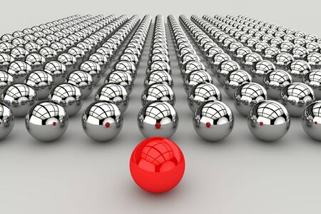 Leadership concept with red sphere and many chrome spheres