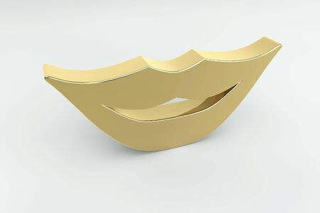 Three dimensional golden smile lips photo