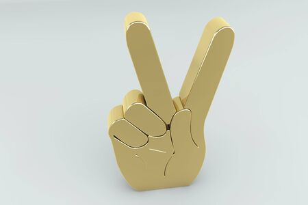 Golden victory hand sign in 3d photo