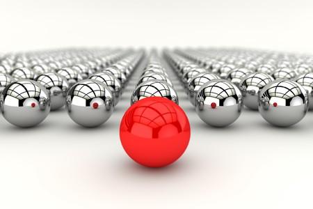 Concepto de liderazgo con la esfera roja y muchas esferas de cromo y profundidad del efecto de enfoque