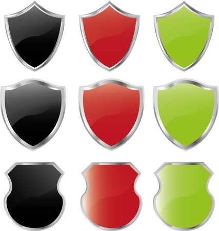 3d shield: Set of  shields on white with shadow