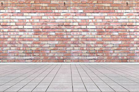 brick floor: 3D habitaci�n vac�a con pared de piedra de yeso y ladrillo Foto de archivo