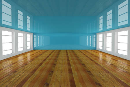 living room wall: Abstract blue empty room 3d render  Stock Photo