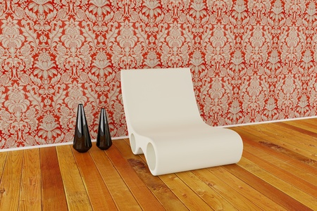 Modern chair with vase on wooden floor and brick wall Stock Photo - 8408739