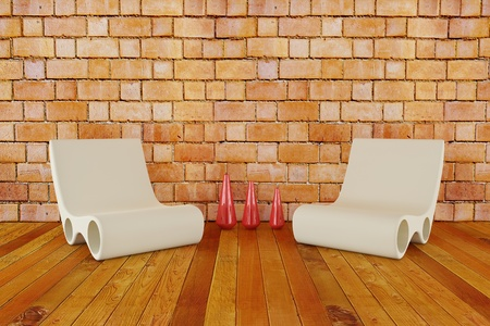 Modern chairs with vase on wooden floor and brick wall
