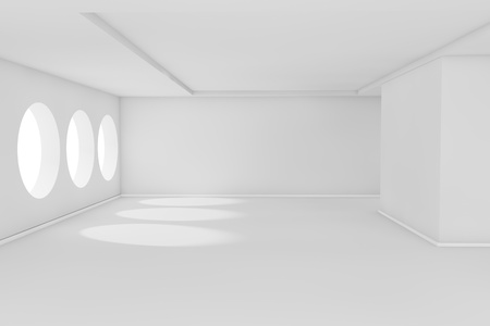 interior window: Abstract 3d white empty room with sunlight Stock Photo