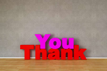Thank you text on wooden parquet floor photo