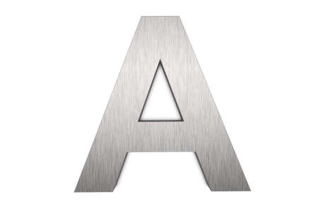 Brushed metal letter A
