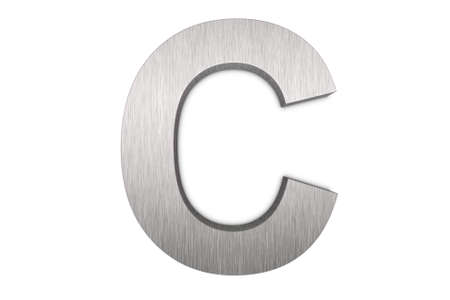 brushed aluminum: Brushed metal letter c Stock Photo