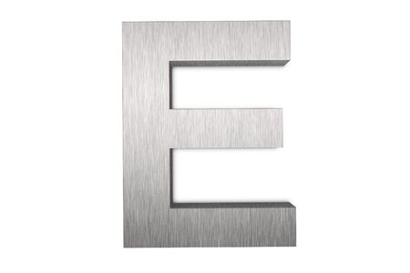 brushed aluminum: Brushed metal letter E Stock Photo