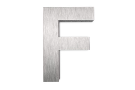 brushed: Brushed metal letter F Stock Photo