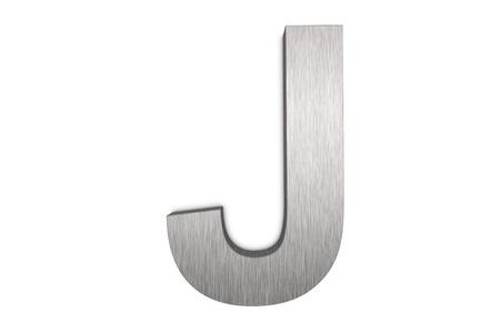 Brushed metal letter J photo