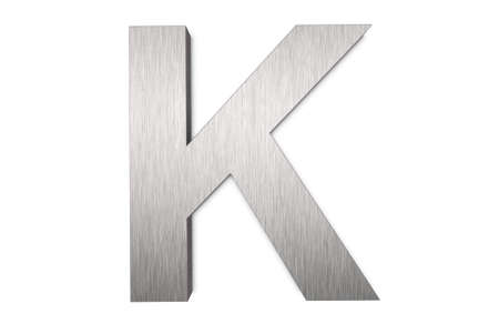 Brushed metal letter K photo