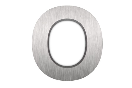 Brushed metal letter O