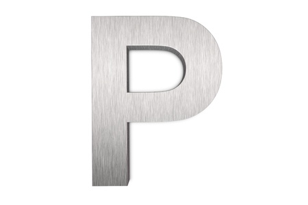 Brushed metal letter P Stock Photo