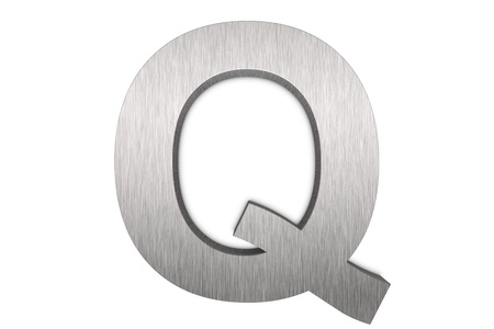 Brushed metal letter Q on white background photo
