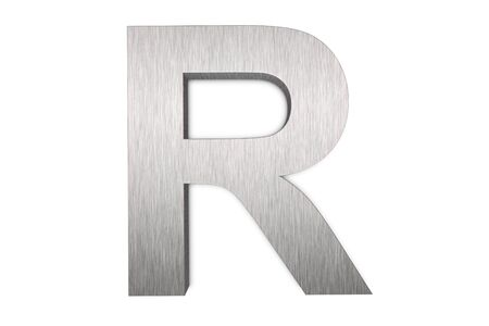 Brushed metal letter R on white background Stock Photo - 8821488