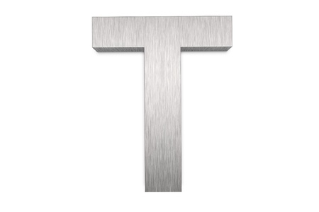 Brushed metal letter T on white background