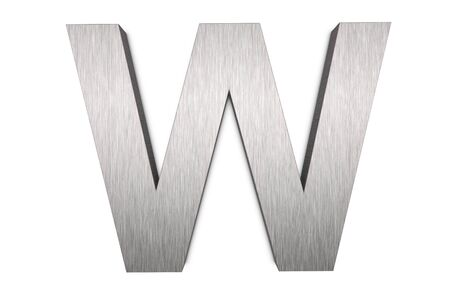 Brushed metal letter W on white background photo