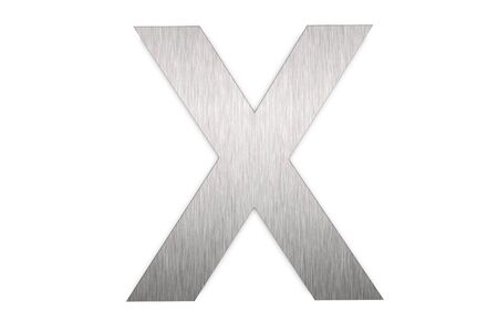 Brushed metal letter X on white background photo