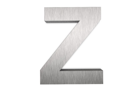 Brushed metal letter Z on white background photo
