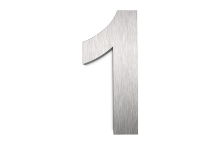 brushed aluminium: Brushed metal number 1 on white background Stock Photo