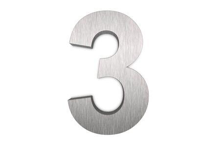 Namalowanych pędzlem metalowych numer 3 na białym tle