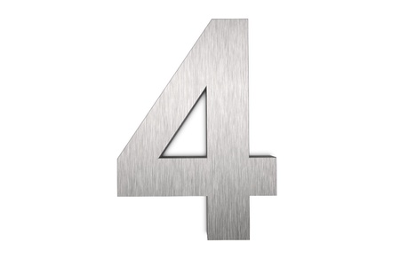 Brushed metal number 4 on white background