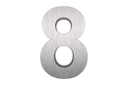 Brushed metal number 8 on white background photo