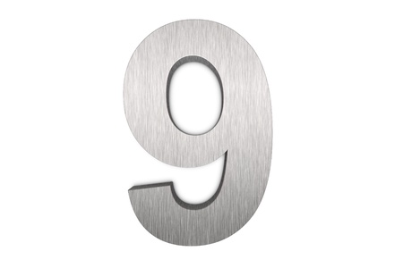 Brushed metal number 9 on white background photo