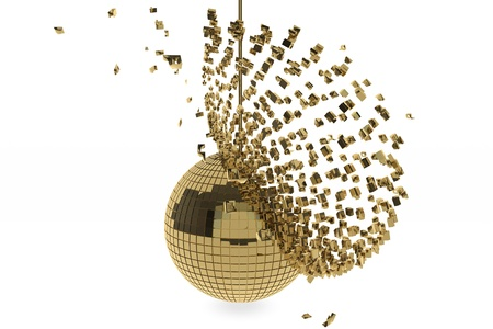 Golden disco ball exploding on white background